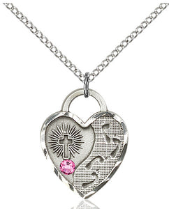 Bliss Heart Footprint in the Sand w/Cross October Rose Birthstone Swarovski Crystal Pendant Necklace