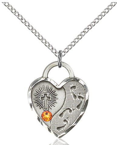 Bliss Heart Footprint in the Sand w/Cross November Topaz Birthstone Pendant Necklace