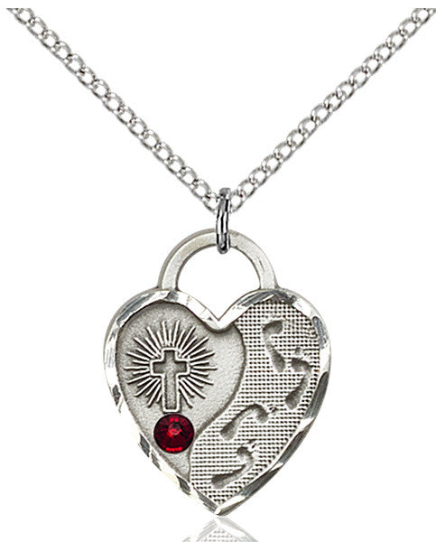 Bliss Heart Footprint in the Sand w/Cross January Garnet Birthstone Pendant Necklace