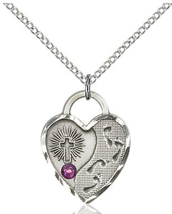 Bliss Heart Shaped Shaped Footprint in the Sand w/Cross February Amethyst Birthstone Pendant Necklace