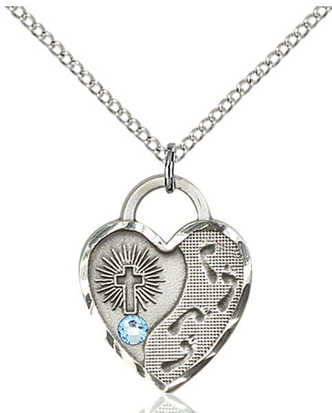 Bliss Heart Footprint in the Sand w/Cross March Aqua Birthstone Swarovski Crystal Pendant Necklace