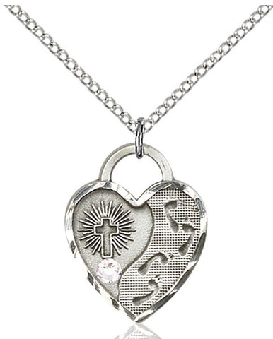 Bliss Heart Footprint in the Sand w/Cross April Crystal Birthstone Pendant Necklace