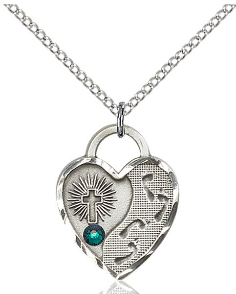 Bliss Heart Shaped Footprint in the Sand w/Cross May Emerald Birthstone Swarovski Crystal Pendant Necklace