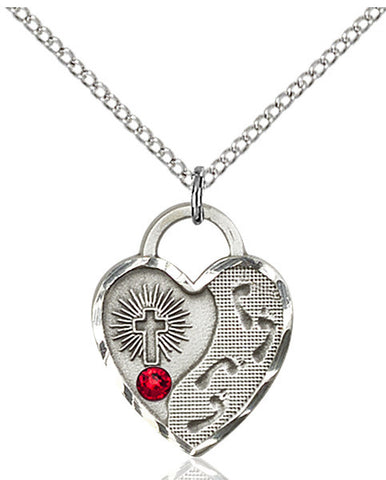 Bliss Heart Footprint in the Sand w/Cross July Ruby Birthstone Swarovski Crystal Pendant Necklace
