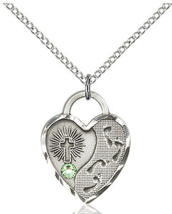 Bliss Heart Shaped Shaped Footprint in the Sand w/Cross August Peridot Birthstone Pendant Necklace