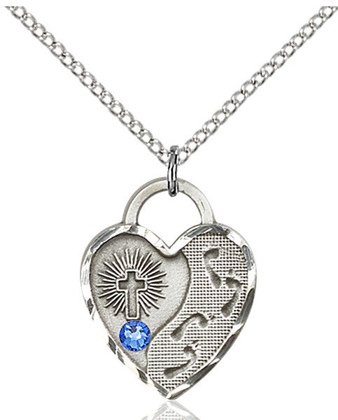 Bliss Heart Shaped Footprint in the Sand w/Cross September Sapphire Birthstone Pendant Necklace