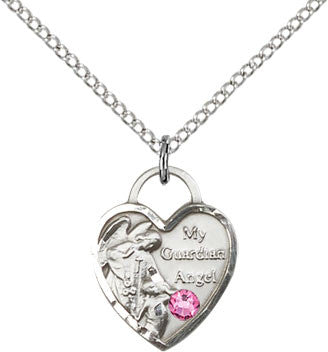 Bliss Manufacturing October Rose Birthstone Guardian Angel Heart Medal Pendant