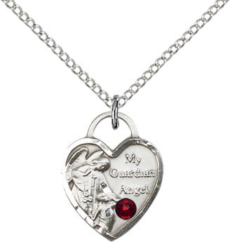 Bliss January Garnet Birthstone Guardian Angel Heart Shaped Medal Pendant