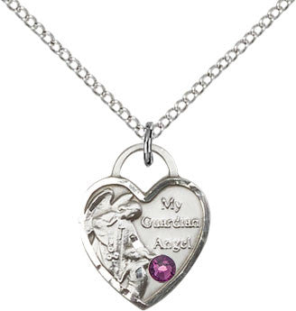 Bliss February Amethyst Birthstone Guardian Angel Heart Shaped Pendant