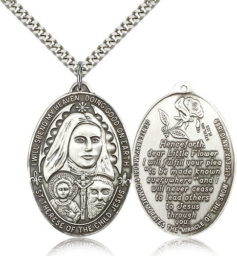 Saint Therese of the Child of Jesus Sterling Silver Medal Pendant Necklace w/24