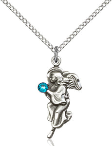 Figure Shaped Guardian Angel December Zircon Crystal Birthstone Pendant Necklace w/SS Chain by Bliss