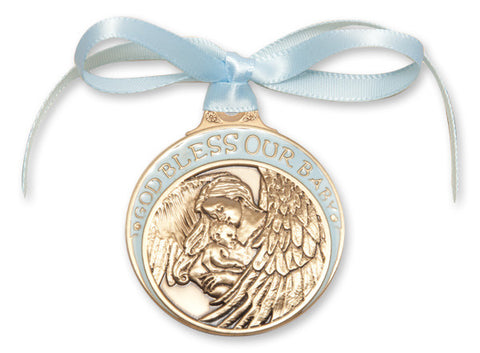 Bliss Antique Gold God Bless Our Baby Manger Crib Medal with Blue Ribbon