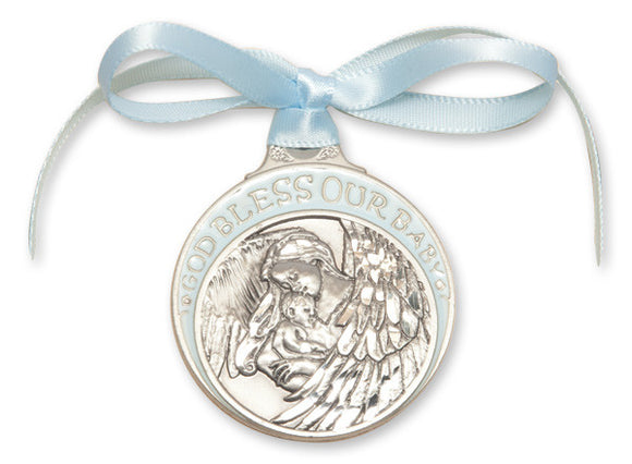 God Bless Our Baby Pewter Angel Crib Medal with Blue Ribbon By Bliss