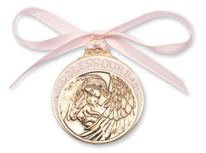 Bliss Antique Gold God Bless Our Baby Manger Crib Medal with Pink Ribbon