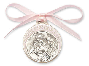 God Bless Our Baby  Pink Pewter Angel Crib Medal with Pink Ribbon By Bliss