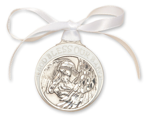 God Bless Our Baby Pewter Angel Crib Medal with White Ribbon By Bliss