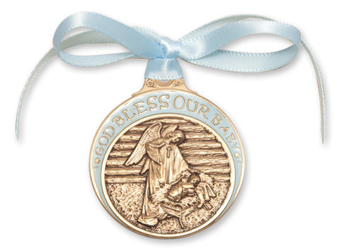Bliss Antique Gold Bless Our Baby in Manger Crib Medal with Blue Ribbon