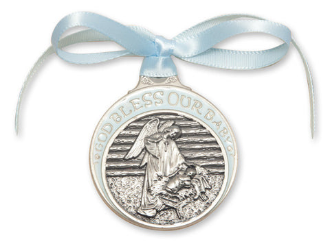 Bliss Pewter God Bless Our Baby Guardian Angel w/Child in Manger Crib Medal with Blue Ribbon