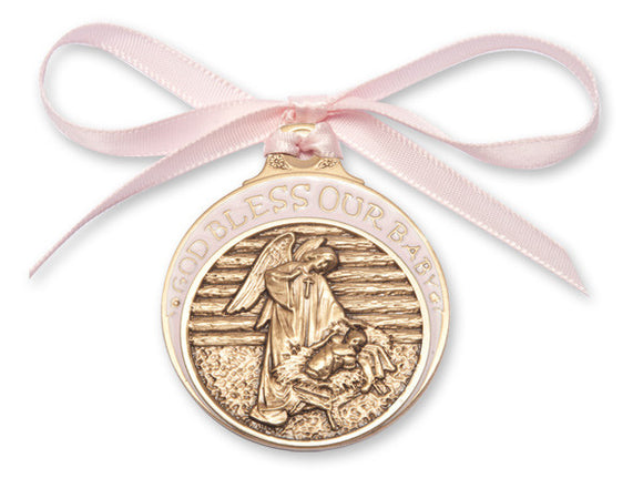 Bliss Antique Gold Bless Our Baby in Manger Crib Medal with Pink Ribbon