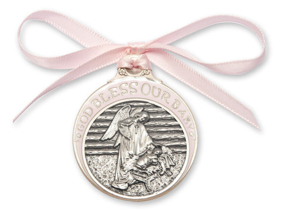 Bliss Pewter God Bless Our Baby Guardian Angel w/Child in Manger Crib Medal w/Pink Ribbon