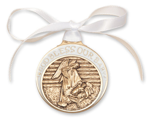 Bliss Antique Gold Bless Our Baby in Manger Crib Medal with White Ribbon