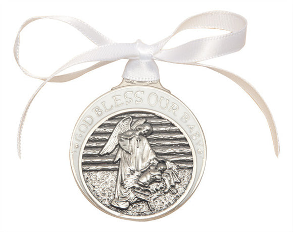 Bliss Pewter God Bless Our Baby Guardian Angel w/Child in Manger Crib Medal w/White Ribbon