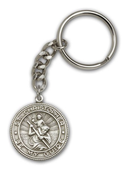 Round St Christopher Patron Saint of Travel Antique Gold or Silver Keychain