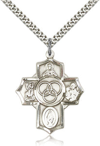 Bliss Manufacturing Marriage/Family Sterling Silver 5-Way Cross Medal Necklace