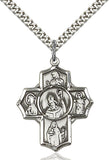 "Catholic Irish Sterling Silver 5-Way Cross Medal Pendant Necklace w/24"" Chain"