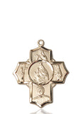 "Carmelite Sterling Silver 5-Way Cross Medal Pendant Necklace w/24"" Chain"