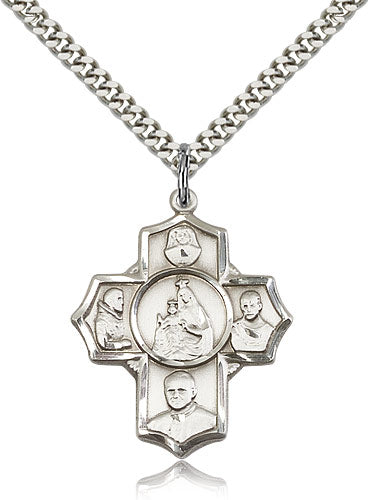 Bliss Manufacturing Polish Sterling Silver 5-Way Catholic Cross Medal Pendant Necklace