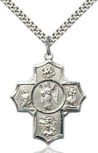 "Warrior Sterling Silver 5-Way Cross Medal Pendant Necklace w/24"" Chain"