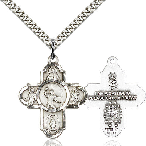 Bliss Athlete Sports Football 5-Way Cross Medal Pendant Necklace