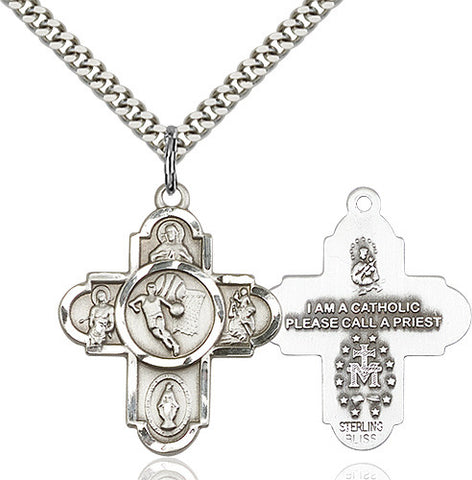 Bliss Athlete Sports Basketball 5-Way Cross Medal Pendant Necklace