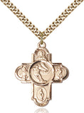 Bliss Athlete Sports Ice Hockey 5-Way Cross Medal Pendant Necklace