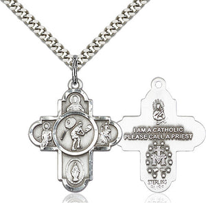 Bliss Athlete Sports Tennis 5-Way Cross Medal Pendant Necklace