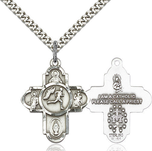 Bliss Athlete Sports Track and Field 5-Way Cross Medal Pendant Necklace