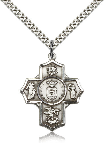 Bliss Manufacturing US Air Force Five-Way Military Cross Medal Pendant Necklace