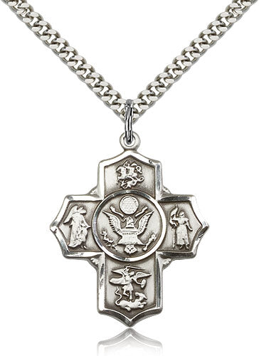 Bliss Manufacturing US Army Five-Way Military Cross Medal Pendant Necklace