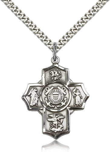 Bliss Manufacturing US Coast Guard Five-Way Military Cross Medal Pendant Necklace