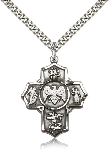 Bliss Manufacturing US National Guard Five-Way Military Cross Medal Pendant Necklace