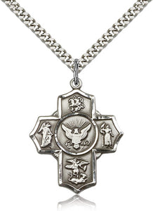 Bliss Manufacturing US Navy Five-Way Military Cross Medal Pendant Necklace