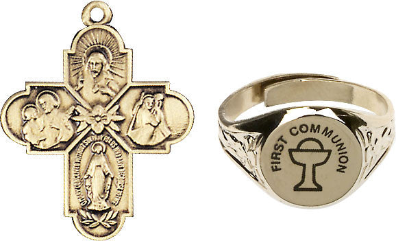 Bliss Holy Communion Chalice Gold-Plated Ring and 4-Way Cross Necklace w/Chain Gift Set