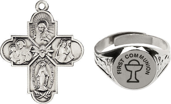 Bliss Holy Communion Chalice Silver-Plated Ring and 4-Way Cross Necklace w/Chain Gift Set