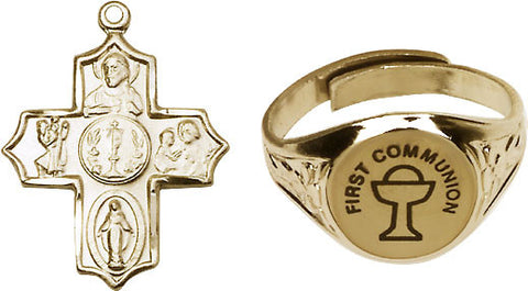 Bliss Holy Communion Chalice Silver-Plated Ring and 5-Way Cross Necklace w/Chain Gift Set