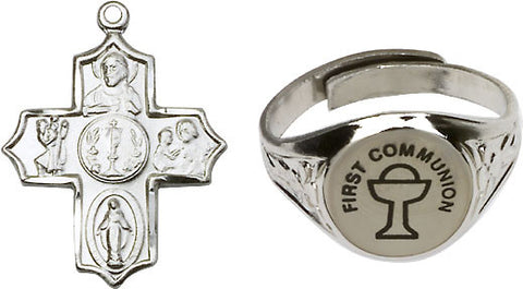 Bliss Holy Communion Chalice Gold-Plated Ring and 5-Way Cross Necklace w/Chain Gift Set