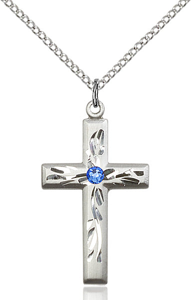 Etched Sterling Silver Birthstone Swarovski Crystal Cross by Bliss Manufacturing