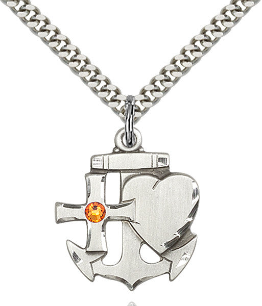 Bliss Anchor Cross and Heart Shaped November Topaz Birthstone Pendant Necklace