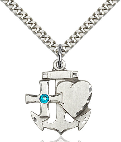Bliss Anchor Cross and Heart December Zircon Birthstone Pendant Necklace