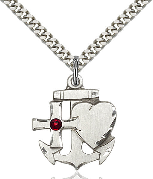 Bliss Anchor Cross and Heart Shaped January Garnet Birthstone Pendant Necklace